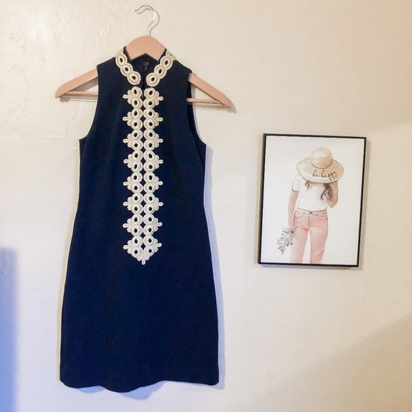 Lilly Pulitzer Calista Dress Navy and Gold in XXS